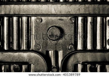 Back side of baking dish form for metal texture background. Toned. - stock photo