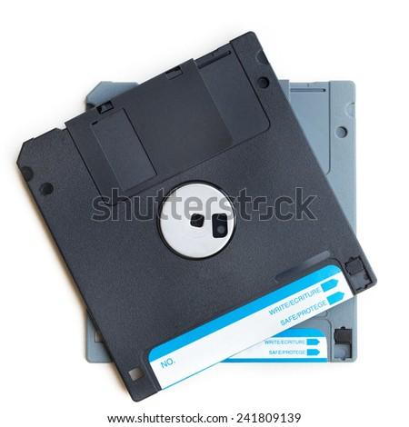 Back side of floppy diskes on isolated white background - stock photo
