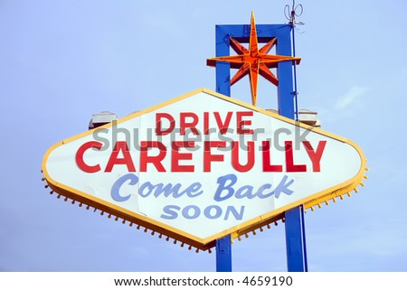 Back side of Las Vegas sign while leaving strip. - stock photo