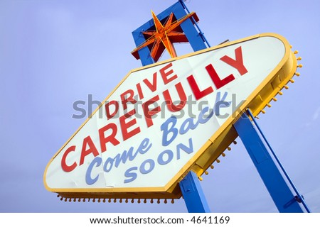 Back side of Las Vegas sign while leaving the strip. - stock photo