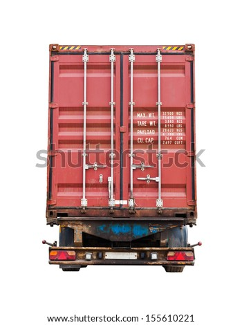 Back side of modern truck with standard red metal freight container. Photo isolated on white