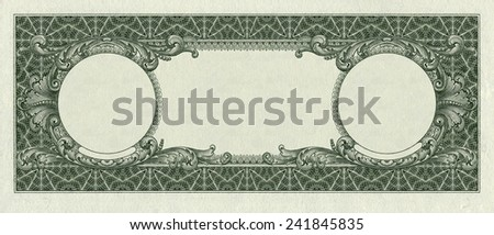 back side of one dollar bill with remote parts for imprinting  isolated clipping path  - stock photo