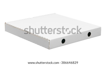 back side of pizza box. white pizza box isolated on white background with clipping path - stock photo