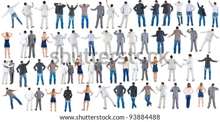 Back side of pointing people Collection.  Rear view. Isolated over white. - stock photo