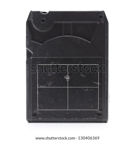 Back side of 1970s eight track cartridge or eight track tape. Isolated on white. - stock photo