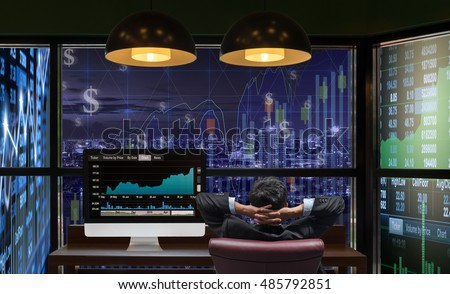 Back side of sitting businessman who is looking at big screen and desktop computer showing the trading graph of stock market exchange graph background, Business trading and finance concept