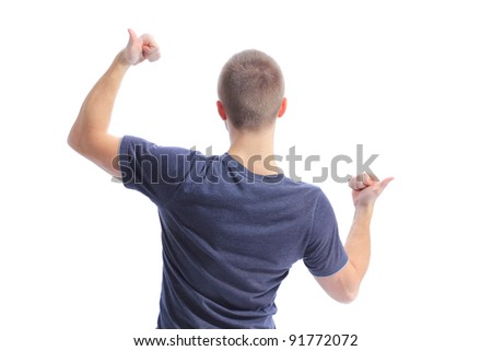Back side view of a man making ok sing against a white background - stock photo