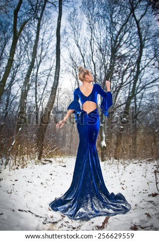 Back side view of lady in long blue dress posing in winter scenery, royal look. Fashionable blonde woman with forest in background, outdoor shot. Glamorous fair hair female in nature - princess style - stock photo