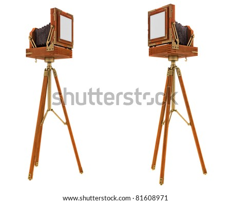 Back Side views of vintage large format camera isolated on white - stock photo