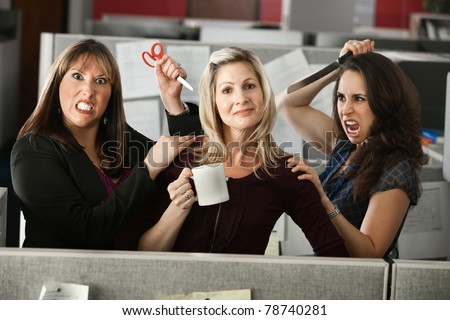 back-stabbing colleagues threatening employee with scissors and knife - stock photo