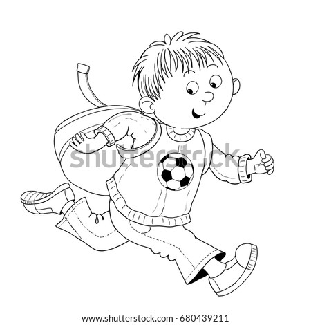 A Cute Boy Hurrying To School Illustration For Children Coloring