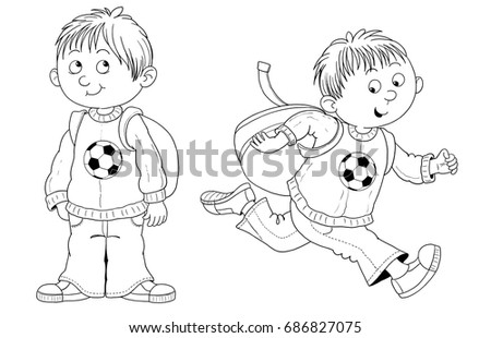 A Cute Boy Ready For School Illustration Children Coloring
