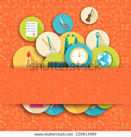 back to school abstract background of flat icons orange concept.  illustration design - stock photo