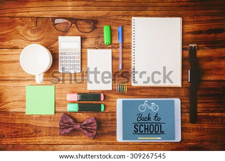 back to school against a differents objects for working - stock photo