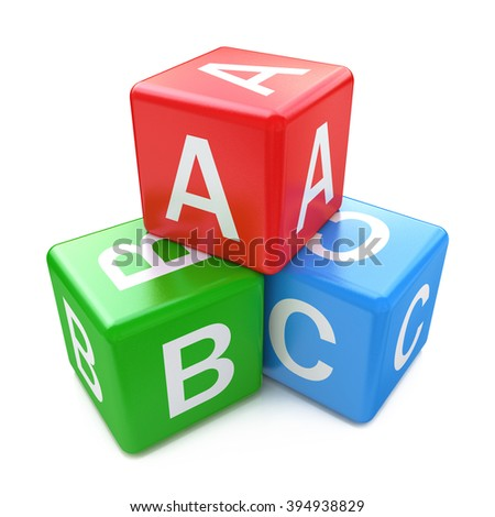 Back to school and education concept: ABC color glossy cubes with letters isolated on white background