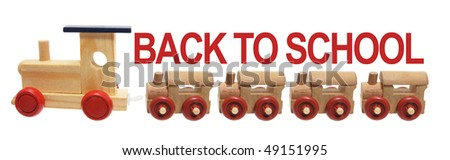 Back to School and Toy Trains on White Background