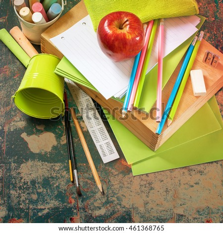 Back To School Apple Color Pencil Tools Stationery Copy Space Design Black Chalk Blackboard Background School Supplies Concept