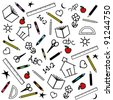 Back to School Background. Chalk drawings of apples, schoolhouses, books, rulers, pencils, pens, markers, protractors, crayons, scissors, ABC, math, grade school doodles. - stock photo