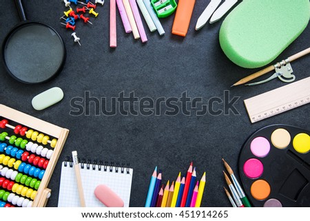 back to school background, copy space for text - stock photo