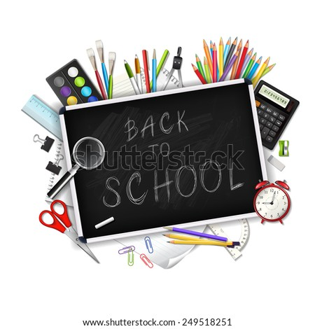 Back to school background with supplies tools isolated on white background. Layered illustration.