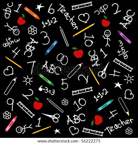 Back to School Blackboard: chalk drawings, math, books, rulers, pencils, pens, markers, protractors, crayons, scissors, ABCs, grade school doodles and apples for the teacher. - stock photo