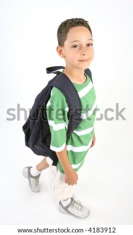 Back to school - boy with backpack - stock photo