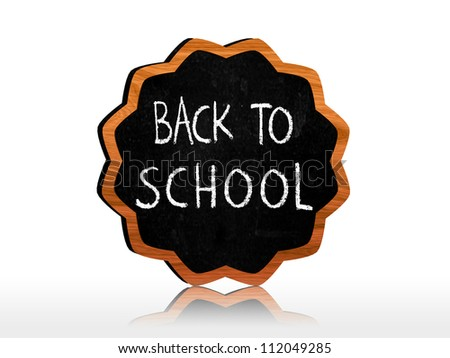 back to school chalk text on starlike blackboard - stock photo