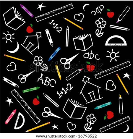 Back to School Chalkboard Background: books, rulers, crayons, pens, pencils, markers, scissors, protractor, schoolhouse, ABC, math, and doodles.