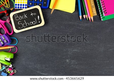 Back to School chalkboard tag with school supplies corner border on blackboard background - stock photo