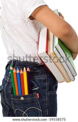 Back to school - child with colorful books and pencils, isolated - stock photo