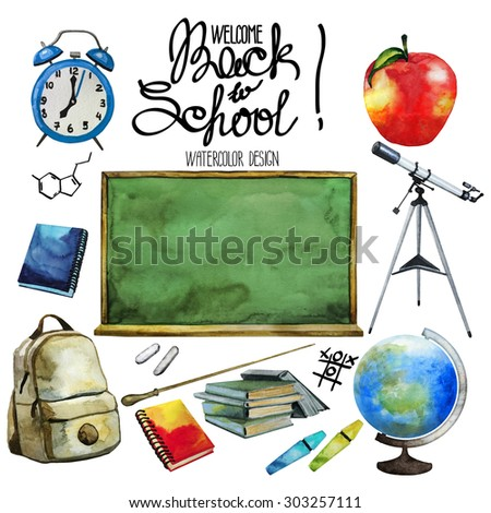 Back to school collection. Equipment for education isolated on white background - stock photo