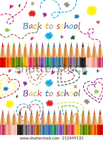 Back to school Colored pencils - stock photo