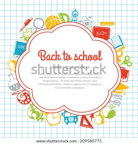 Back to school colorful background with space for text - stock photo