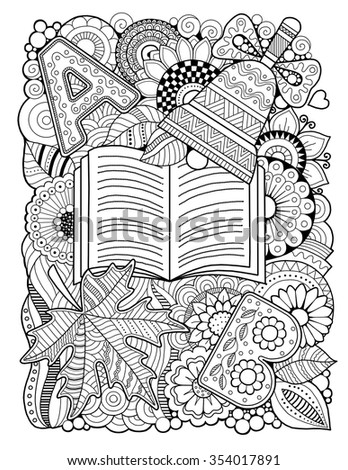 Back to school. Coloring book for adult. Raster Copy