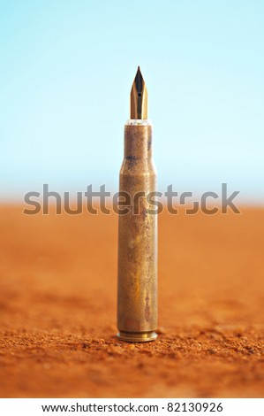 back to school concept against weapons for children, give them pens not bullets - stock photo