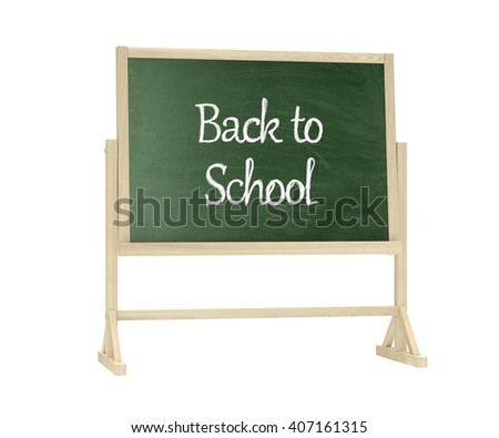 Back to School concept. Blackboard, chalkboard isolated on white. 3d rendering.