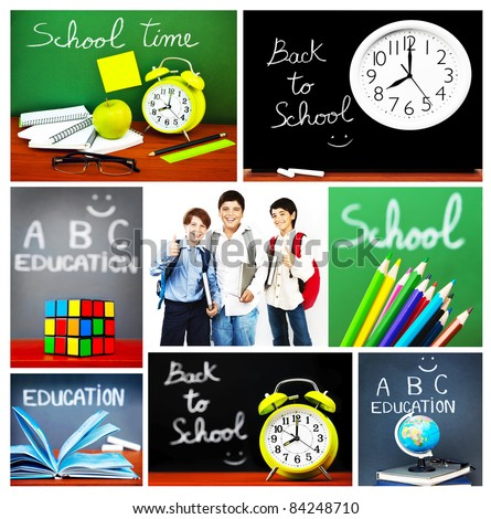Back to school concept collage, collection of images related to education, colorful accessories and happy schoolboys - stock photo
