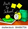 Back to school concept, colorful students accessories in the classroom, time to study - stock photo