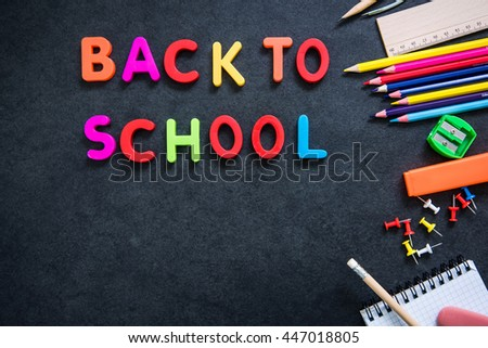 back to school concept, flat lay supplies - stock photo