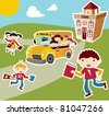 Back to school concept illustration background. Bus, children and school facade composition. - stock vector