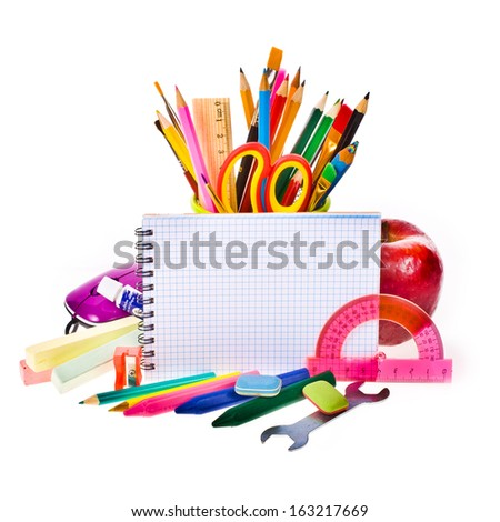 Back to school concept , Photo of Items for school student gear and autumn maple leaves isolated on white background - stock photo