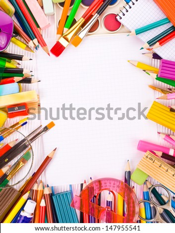 Back to school concept Photo of Items for school student gear  over white Corrugated cardboard background  - stock photo