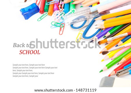 Back to school concept, Stationery, office and student accessories isolated on white background.