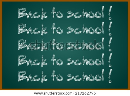 Back to school concept text on chalkboard with item icons. Raster version - stock photo