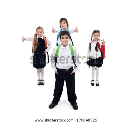 Back to school concept with happy and cool kids - isolated - stock photo