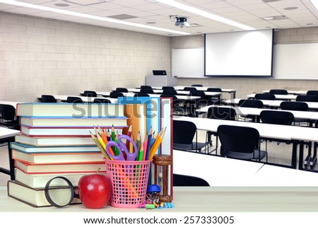 Back To School concept with stack of book - stock photo