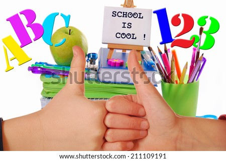 back to school concept with thumbs up like kids hands symbol and school staffs - stock photo