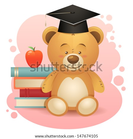 Back to school cute teddy bear toy illustration with books and apple - stock photo