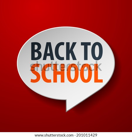 Back To School 3d Speech Bubble on Red background