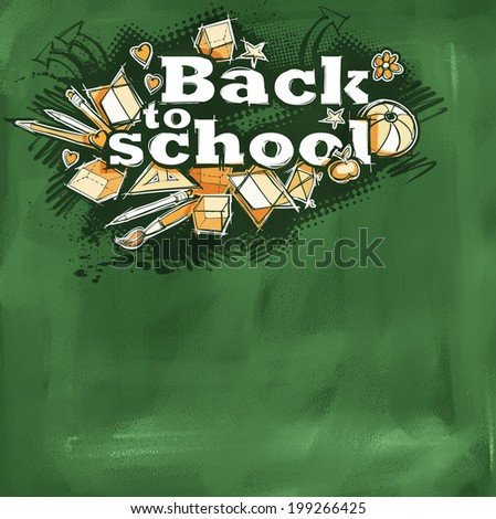 Back to school design on green chalkboard, naive primitive doodles hand drawn, freehand grunge sketchy style - stock photo